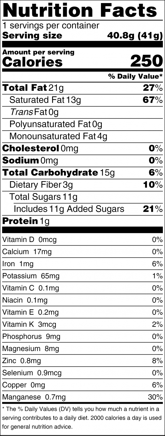 MYLK Nutritional Facts